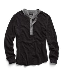 Classic Henley in Dark Charcoal Mix