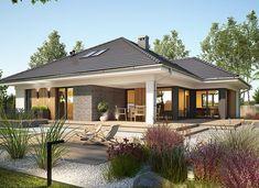 Miriam V - zdjęcie 1 Bungalow House Plans, Dream House Plans, Modern Bungalow Exterior, Village House Design, Beautiful House Plans, Model House Plan, Facade House, Modern House Design, Home Fashion