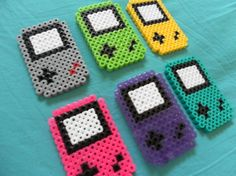Nintendo game boy perler bead mario magnets geek. PerlerGirl on Etsy.