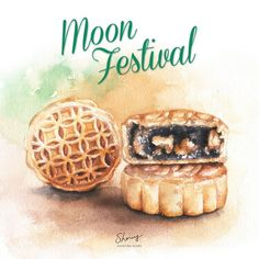 Cake Drawing, Food Drawing, Cake Festival, Happy Mid Autumn Festival, Paint Paint, Dessert Illustration, Watercolor Food, Food Painting, Moon Cake