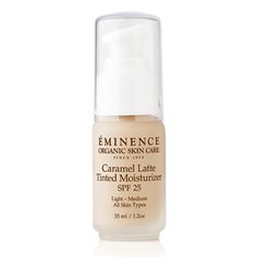 Eminence Caramel Latte Tinted Moisturizer SPF 25 (All Skin Types) softens and protects the skin with ingredients rich in antioxidants. It delivers lightweight sheer coverage and a natural finish with SPF 25 protection.