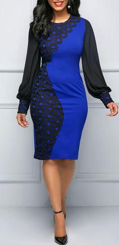 Long Sleeve Patchwork Blue Sheath Dress.