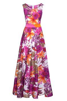 Sukienka maxi w kwiaty amarant/pomarańczowy