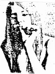 Young woman smoking a marijuana cigarette, Berkeley, California. Photocopy on paper, 1969. (Detail from a 35mm photograph I made and then greatly enlarged from a contact print via a photocopy machine. The photograph is of gifted poet, author, and ima trends of Drink you will like it!