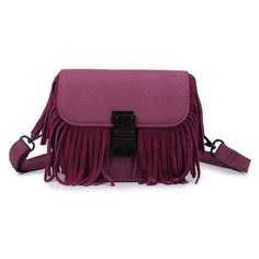 Chicnova Fashion Fringed Crossbody Bag (140 BRL) ❤ liked on Polyvore featuring bags, handbags, shoulder bags, purple shoulder bag, crossbody purse, fringe purse, fringe crossbody handbags and cross body