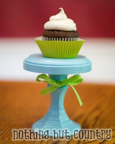 I wanted little cupcake stands to show off cupcakes we create lately. We have kind of joined the cupcake craze. So everything we make is a cupcake now. Cake And Cupcake Stand, Cupcake Cakes, Cupcake Party, Cupcake Ideas, Pretty Cupcakes, Mini Cupcakes, Dessert Stand, Dessert Table, Diy Cake