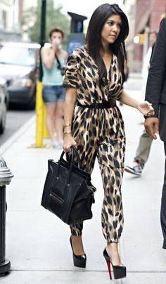 Kourtney Kardashian leopard jumpsuit