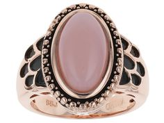 Timna Jewelry Collection(Tm) 14x8mm Oval Cabochon Peruvian Pink Opal Copper Ring