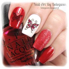 Nail Art by Belegwen: OPI The Spy Who Loved Me, Gina Tricot Wihte and Depend Poppy