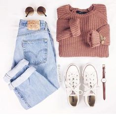 love the faded levis and chunky sweater - Outfits - Teenage Outfits, Outfits For Teens, Autumn Outfits For Teen Girls, Autumn Outfits Women, Laid Back Outfits, Teenage Clothing, Teenage Guys, Fall Winter Outfits, Summer Outfits