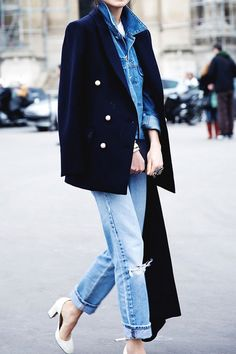 Dress up your boyfriend jeans with a structured coat and nice neutral heels