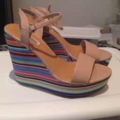 Steve Madden nude patent and colorful platforms These are just fantastic! Barely used nude patent leather platforms with the funnest striped multicolor heel! The mullet sandal! Business in the front... Party in the back! LOL Steve Madden Shoes