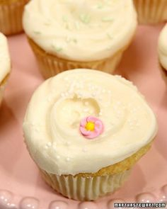 Basic Vanilla Buttercream      yield Makes enough for 30 cupcakes Ingredients     1 cup (2 sticks) unsalted butter, room temperature     6 to 8 cups confectioners' sugar     1/2 cup milk     1 teaspoon pure vanilla extract