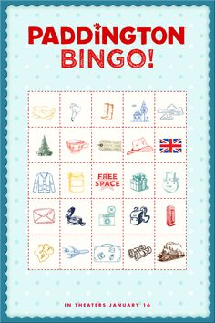 Time to play Paddington Bingo! Print out a FREE bingo card printable full of Paddington's favorite things. First to five in a row wins! A great activity for kids this winter.