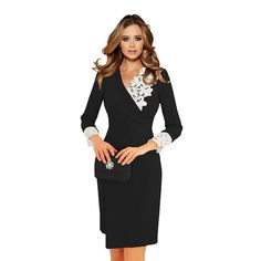 1b928504e41 Women s Appeal Fall Dress Wrap V-neck Lace Vintage Work Wear Three Quarter   fashion