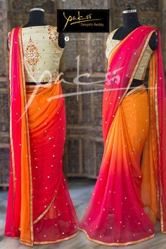 Ethinic Saree collection from Yaksi Deepthi Reddy Simple Sarees, Trendy Sarees, Stylish Sarees, Fancy Sarees, Party Wear Sarees, Half Saree Designs, Sari Blouse Designs, Blouse Patterns, Sarees For Girls