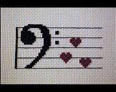 Bass Clef Music Love PDF Cross Stitch Pattern, Music Hearts Valentines Cross Stitch Pattern, Music C Cross Stitching, Cross Stitch Embroidery, Embroidery Patterns, Cross Stitch Patterns, Pdf Patterns, Cross Stitch Music, Cross Stitch Heart, Crochet Music, Music Heart