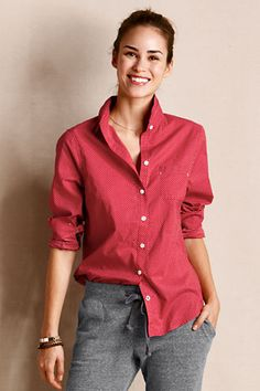 Women's Tiny Dot Shirt from Lands' End Canvas