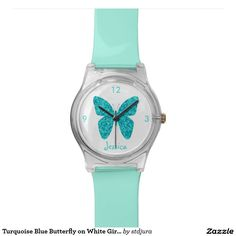 Turquoise Blue Butterfly on White Girly Name Watches  #zazzle #watches #watch #turquoise #blue #butterfly  #girlyname