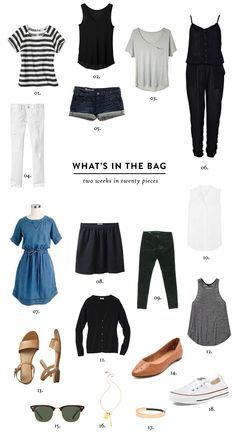Packing guide for a 2 week trip. Only 20 pieces and one carry on. Via Hollis Anne---or it could be great minimalist summer wardrobe too Capsule Wardrobe, Travel Wardrobe, Travel Capsule, Travel Packing, Vacation Packing, Cruise Vacation, Disney Cruise, Vacation Destinations, Travel Wear