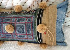 Vintage Textile & Pom Poms on Burlap Pillow by Janice McCarty Design