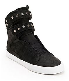 Supra Womens TK Society Studded Black Waxed High Top Shoes at Zumiez : PDP