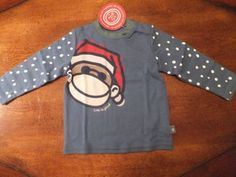 Life Is Good Baby Size 3 6 Months Long Sleeve T Shirt Top Santa Monkey Blue | eBay