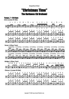 Drum Sheet Music, Drums Sheet, Drum Parts, Drum Lessons, Old Song, Graham, Christmas Time, Darkness, Teaching
