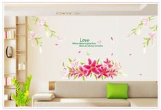 YYone Love Quote Huge Pink Lily Flowers Removable Wall Decal Home Decor Sticker Flower Mural