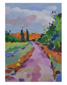 Pink Road in Chablis by Jessie Mackay #landscape #art #print #france