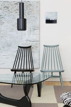 Noguchi Coffee Table (VITRA) + Alvar Aalto lamp and Tapiovaara Mademoiselle chairs (ARTEK): The Perfect Match.