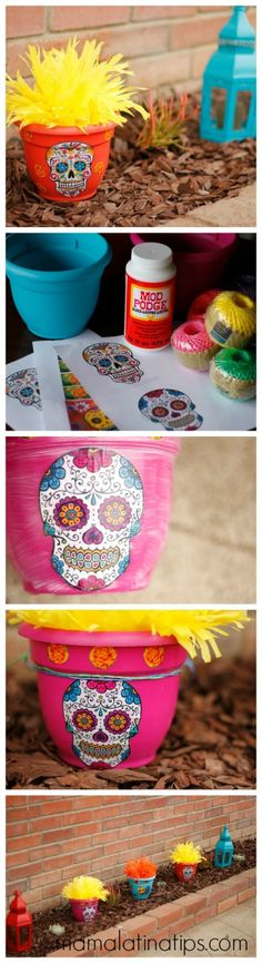 DIY Day of the Dead Flower Pots via @mamalatinatips