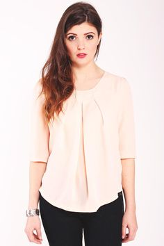 Louche Melana Blouse. Blush blouse. Lightweight crepe georgette. 3/4 length sleeves. Box pleat to front.