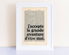 j'accepte la grande aventure d'être moi. Simone de Beauvoir more Simone de Beauvoir here: https://www.etsy.com/shop/CartabanCards?search_query=simone+de+beauvoir#items SIZE: Dimensions of the encyclopedia page: 17.5 cm x 26.4 cm (6 7/8 x 10 3/8 approx.) Frame and matting/mount