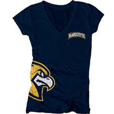 955a98d7804 Marquette Golden Eagles Womens Navy Cossett Mascot Deep V-Neck T-Shirt Swim  Team