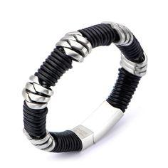 Stainless Steel & Black Leather Bracelet