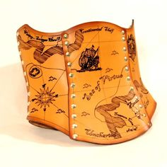 Hard Leather Treasure Map Corset  Custom by BruteForceStudios, $349.00