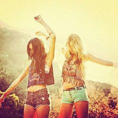 brunette and blonde. This is me and my best friend. Except we definitely aren't models... We wish..