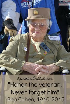 """Honor the veteran. Never forget him."" --U.S. Army Veteran Bea Cohen (Photo credit: B. Falkin. Used with permission.)"
