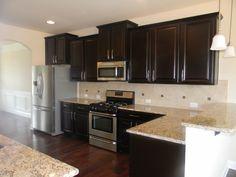 Ballentine kitchen - Timberlake Scottsdale Maple Espresso Cabinets, Santa Cecilia granite, Essex Design Board #14 backsplash
