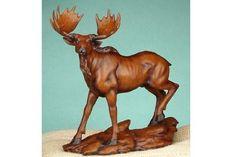 moose statues or figurines | ... Wood Walking Moose Sculpture Figure Figurine Model Statue Decor by UG