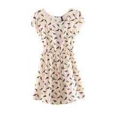 Cute Round Neck Short Sleeve Birds Printed Dress found on Polyvore
