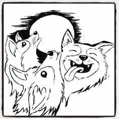 #Drawlloween2016 Day Sixteen. Theme: #FullMoon ... three corgi moon! . . . #earthenwood #drawlloween #creepycute #sketchbook #drawing #sketch #spoopy #artist #deadthings #horrornerd #spooky #sketching #draw #ink #horror #horrorart #creepy #doge #corgi #threewolfmoon #dogs