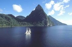 Viewing the Pitons by sea  St. Lucia, Caribbean