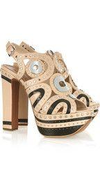 AlaïaEmbellished leather platform sandals