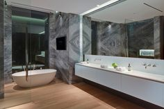 Fabulous Gray Stone Wall Bathroom with Mirror