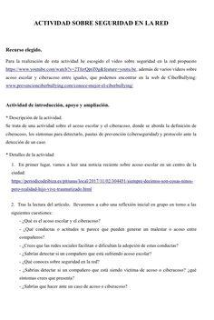 1.2. Actividad Sobre seguridad en la red. (página sugerida: www.prevencionciberbullying.com/conoce-mejor-el-ciberbullying/)
