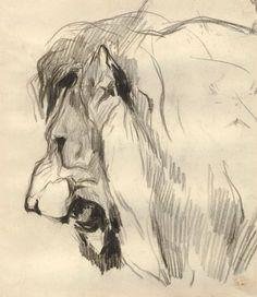 Eugène Delacroix, Profile of a Lion , graphite