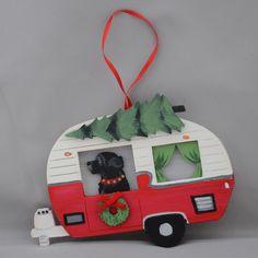 """Vintage Camper and Black Newf Ornament"" Dog Ornaments, Felt Christmas Ornaments, Homemade Christmas, Christmas Crafts, Christmas Ideas, Xmas, Gold Christmas Decorations, Felt Decorations, Ornament Tutorial"