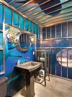 shark cage bathroom!!! shark week in the bathtub!!!
